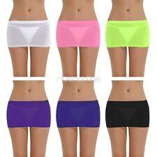 Womens Stretch Mini Skirt See Through Lingerie Costume Nightwear micro Shorts