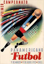 Chile Soccer Sports 1952 South America Vintage Poster Print Retro Football Art