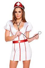 Krankenschwester Kostüm Kleid S/M M/L  Haube Stethoskop Gürtel Made in USA