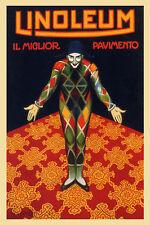 Pierrot Linoleum Floor Covering Italy Italian Vintage Poster Repro FREE S/H