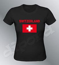 Tee shirt SUISSE femme football foot drapeau switzerland flag euro monde croix