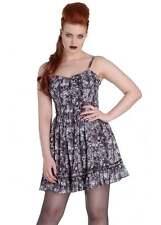 Spin Doctor Aura Mini Skull Black Grey Chiffon Dress XS to XL Sizing