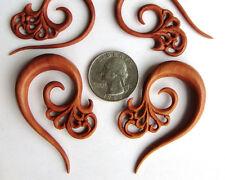 Pair Hand Carved Tribal Floral Sawo Wood Spiral Ear Expander Taper Plugs Gauges