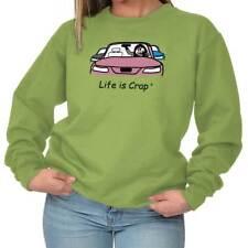 Life is Crap Lipstick Car Funny Shirt for Women | Sarcastic Crewneck Sweatshirt