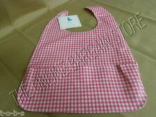 2 Pottery Barn Kids PBK Pink Gingham Check Wipeable Bib Baby Nursery Burp Cloth