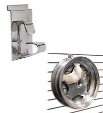 Slatwall Wheel Holder, Rim Display Hook for Slatwall Panels, Chrome, Wholesale