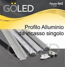 KIT Profilo alluminio INCASSO per strip LED 2mt cover trasp./opaca/bianca/frost