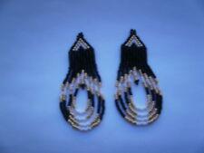 seed beaded earrings looped gold /black/white looped