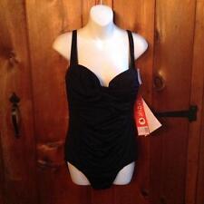 Fit 4U  Black Classic  one piece Swimsuit Multi Strap Back Size 18W 20W  24W NWT