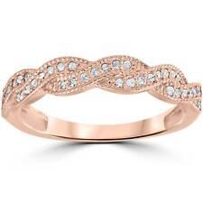 1/8ct Pave Diamond Wedding Ring 14K Rose Gold
