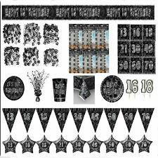 Negro Glitz Vajilla Fiesta Edades 13-60 Artículos para decoración Pancartas Vela