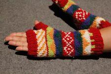 100%HandKnitted Colourful Woollen Gloves Ski Wool Wrist Warmer FingerlessGloves
