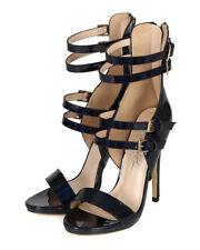 New Women Wild Rose Isabella-01 Mirror Metallic Straps Open Toe Stiletto Sandal