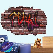 Multi couleur personnalisé graffiti nom 3D smashed autocollant mural art enfants chambres