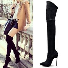 Tacones altos mujer Zapatos sobre la rodilla estiramiento flock sexy overknee