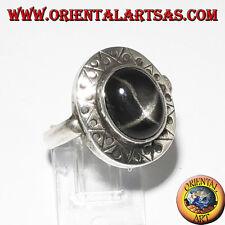 Ring Silber mit Black Star mit Rand Ziseliertes
