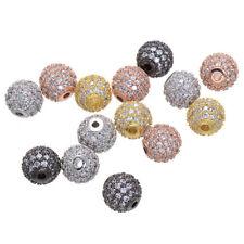 1pcs DISCO ball mirco pave  clear black CZ brass shamballa spacer loose beads