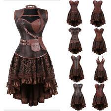 Burlesque Costume Corset Skirt Basque Cincher Lingerie Bustier Steampunk Gothic
