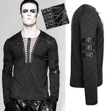 T-shirt haut steampunk gothique punk laçage sangles cuir vintage PunkRave Homme