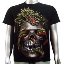Japanese Yakuza Tattoo Tee Vampire Skull Chinese Dragon Tattoo Men T-shirt M & L