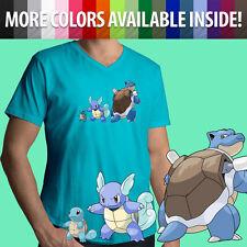 Pokemon Graphic Nintendo Game Squirtle Evolution Cartoon Mens Tee V-Neck T-Shirt