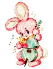 Vintage Image Retro Nursery Baby Pink Bunny Guitar Waterslide Decals AN751