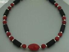 Korallen rot Kette Collier Halskette Lava schwarz Damen Silber schöne Kugeln