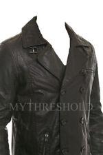 Mens Biker Vintage Motorcycle Black Cafe Racer Leather Jacket Coat