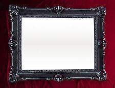 XXL Espejo de Pared Negro Plata Antiguo Barroco ROCOCO 90x70 Decoración REPRO