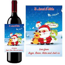 Personalizado De Botella De Vino Etiqueta Merry Padre Navidad Santa Navidad-B23