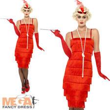 Red Long Flapper Ladies Fancy Dress 1920s Jazz Charleston Womens Adults Costume