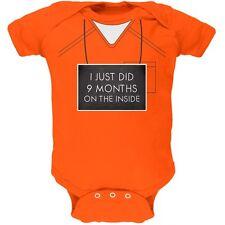 9 Months Inside Prisoner Inmate Costume Orange Soft Baby One Piece