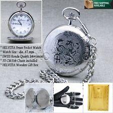 HELVETIA Silver SWISS Movement Mens Quartz Pocket Watch Gift Chain Wood Box P68