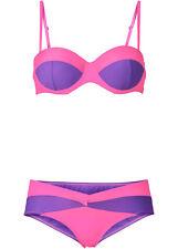 Bikini Set lila pink neon Gr 44 85 Soft Cup C 334 D 257 Balconette Bügel BH neu