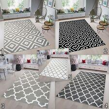 Modern TAPISO Trellis Rug Large Black White Grey High-Quality Carpet Soft Pile