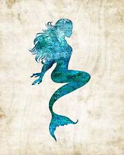 Mermaid #4 Watercolor Art Print by Dan Morris, option to mount print, pick size