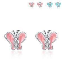Sterling Silver Blue Pink Enamel Cubic Zirconia 7mm Butterfly Stud Earrings K13A