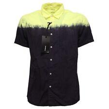 7250Q camicia uomo DONDUP manica corta blu/giallo shirt men