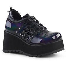 DEMONIA SCE31/BHG Punk Gothic Wedge Platform Black Hologram Lace Up Womens Shoes
