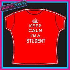 Keep Calm Ich bin Student Ladies Damen Erwachsene Größen Tshirt Geschenk