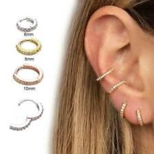 Silver Gold Septum Clicker Nose Ear Ring Hinged Segment Titanium Piercing CZ