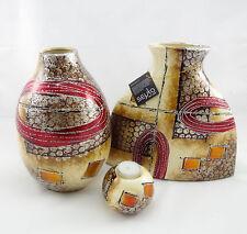 """Keramik Serie """"Andromeda"""" Vase bauchig oder oval, Teelichthalter braun beige"""