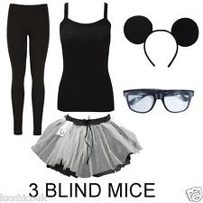 Adults Womens 3 Blind Mice Set Vest Leggings Tutu Glasses Fancy Dress Outfit