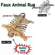 Large Faux Fur Tiger Animal Skin Floor Wall Rug Bengal Siberian WHITE Orange new
