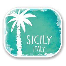 2 x Sicilia Italia Adesivo Vinile Portatile da Viaggio Bagaglio Auto #6508
