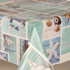 Blue Beach Seaside Prints Pvc Vinyl Table Cloth Protector Patchwork Boats Stars