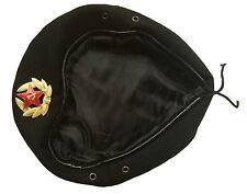 USSR Soviet Russian Army Style Black Uniform Beret Hat Cap OMON MVD Badge