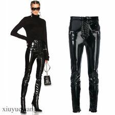 Womens Shiny Patent Leather High Waist Bandage Pencil Pants Clubwear Trousers Sz