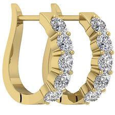 VVS1 D 1.30Ct Genuine Diamond Solid 14Kt Yellow Gold Hoop Earrings Prong Set