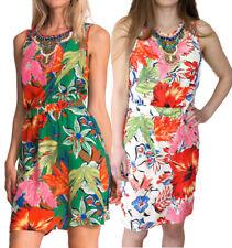 DESIGUAL BY L AUSTRIA DRESS 36-42 8-14 RRP �94 CREAM GREEN TROPICAL PRINT BEADED